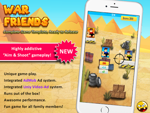 Released] War Friends, addictive aim & shoot game template for